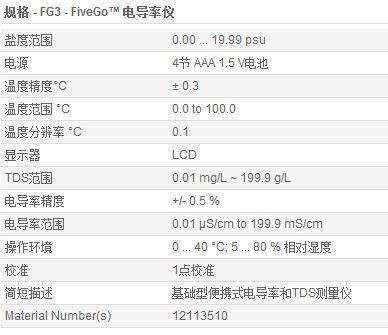FG3电导率仪参数