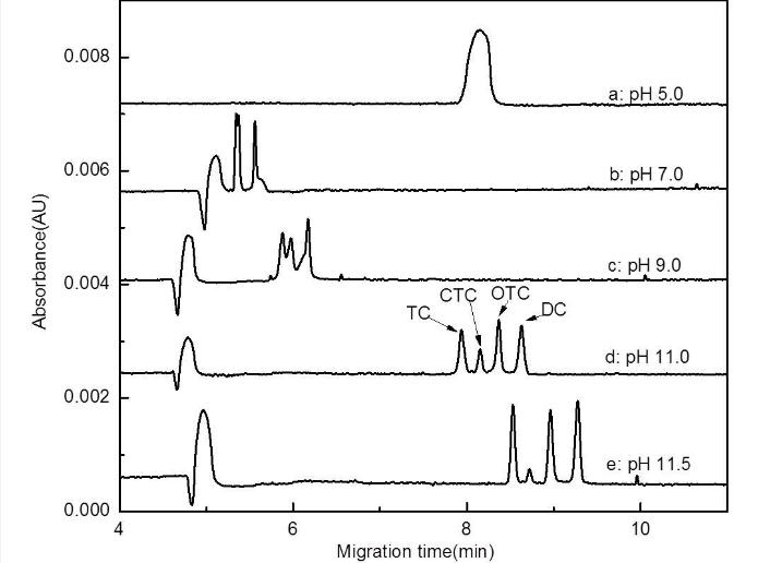 四环素的CE谱图的其它色谱图