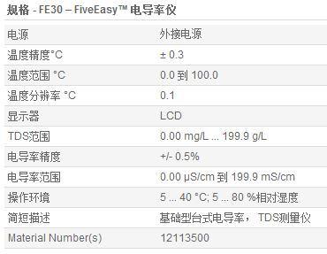 FE30电导率仪参数